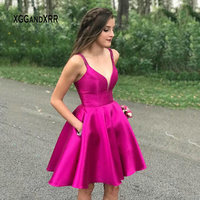 Elegant Satin Short Homecoming Dress 2019 Sexy Spaghetti Backless with Pockets Girls Graduation Party Gown Plus Size Gala Dress