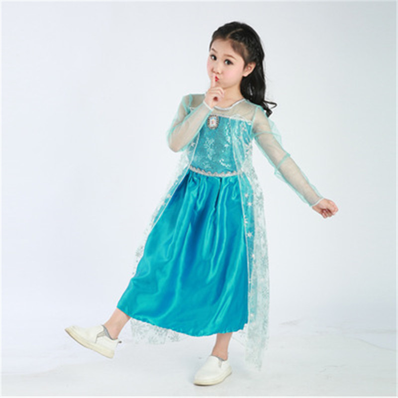 Girls Elsa Costume Blue Snow Queen Princess Dress up with short Train Halloween Christmas Party Sequined Cosplay Fantasy