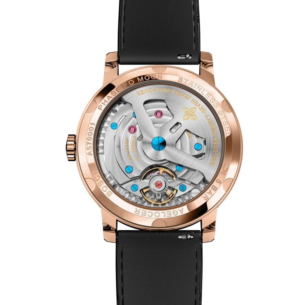 Agelocer marca de topo designer relógio masculino safira cristal rosa ouro lua fase relógios marrom couro banda 6401d2 - 5