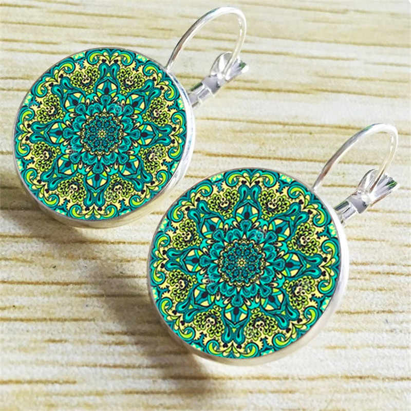Fashion resin Cabochon Green Pink Flower Figure Hanging Earrings Bohemia Round Ear Pendant Brincos Vintage Wholesale Jewelry