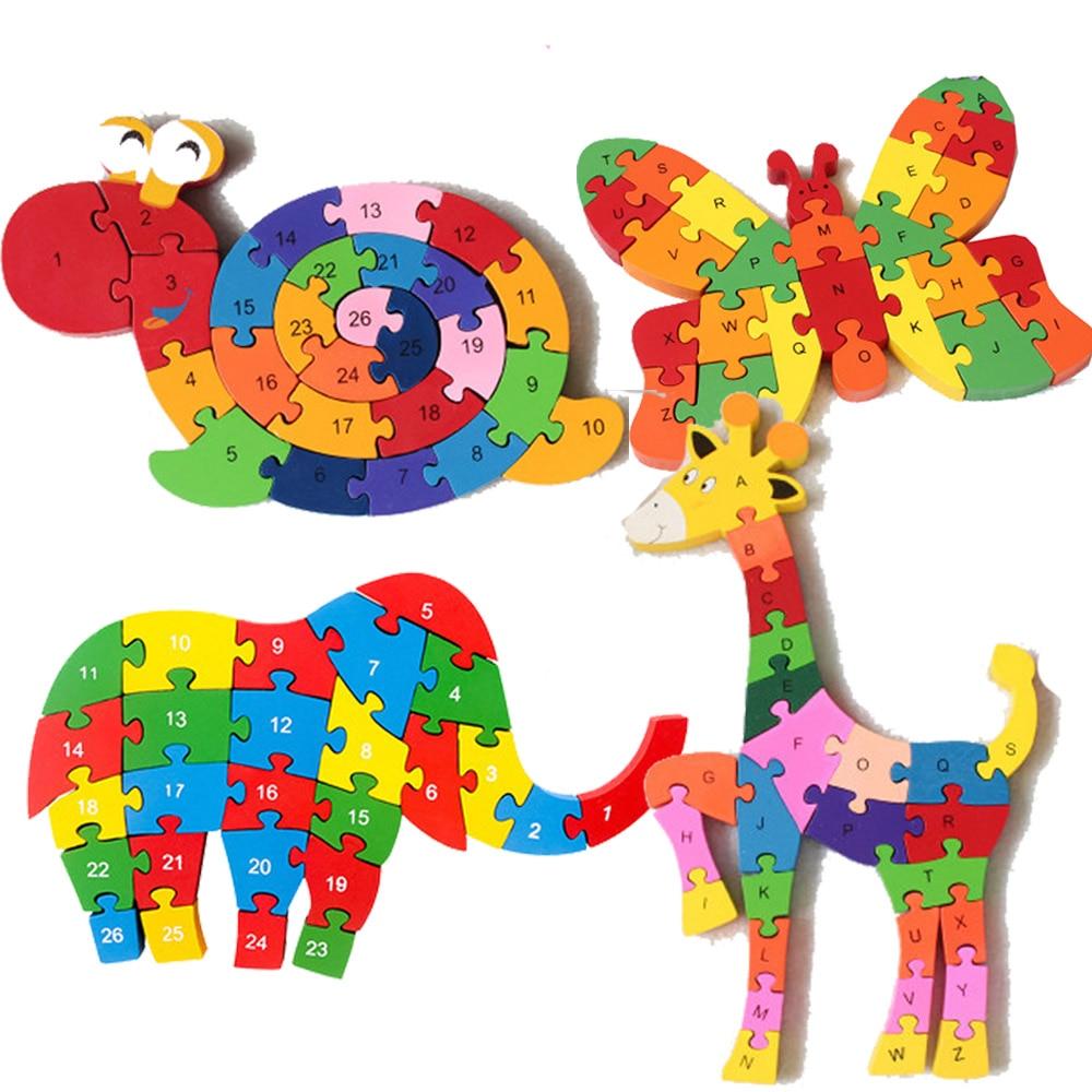 2019 Quebra-cabeças De Madeira Brinquedos Montessori Educação Precoce Letras Alfanuméricos Encantador de Serpente Forma Animais Puzzle Brinquedo De Madeira para Crianças
