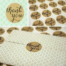 12 Pcs /sheet Thank You love self-adhesive stickers kraft label sticker Candy paper tags/For DIY Hand Made Gift Cake(China)
