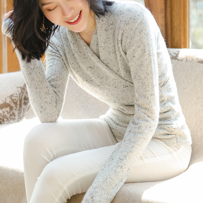 100% Cashmere Sweater Women Simple Design Cross V Neck Long Sleeves 3 Colors Ladies Casual Pullovers Knitwear 2017 New Fashion