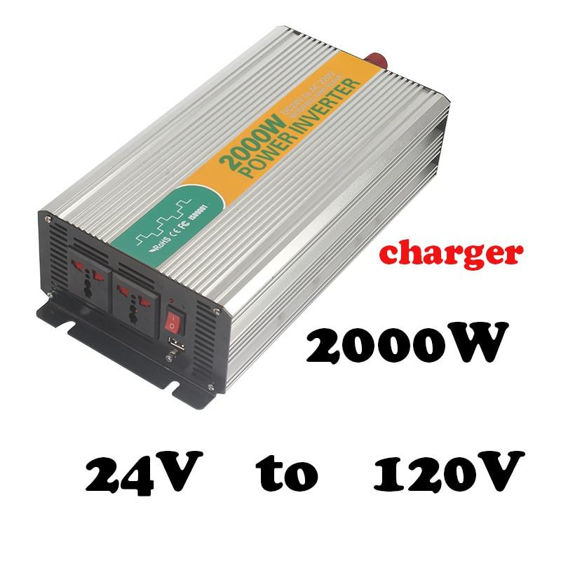 2000W 24 to 120v  2000watt power inverter for home application 2kva inverter dc to ac 24v 120v mini inverter with charger