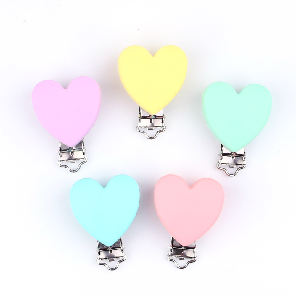 TYRY.HU Heart Love Shaped Pacifier Clip Silicone  Baby Teether Teething Accessories Clip Non-toxic Nipple Clasps DIY Bead Tool