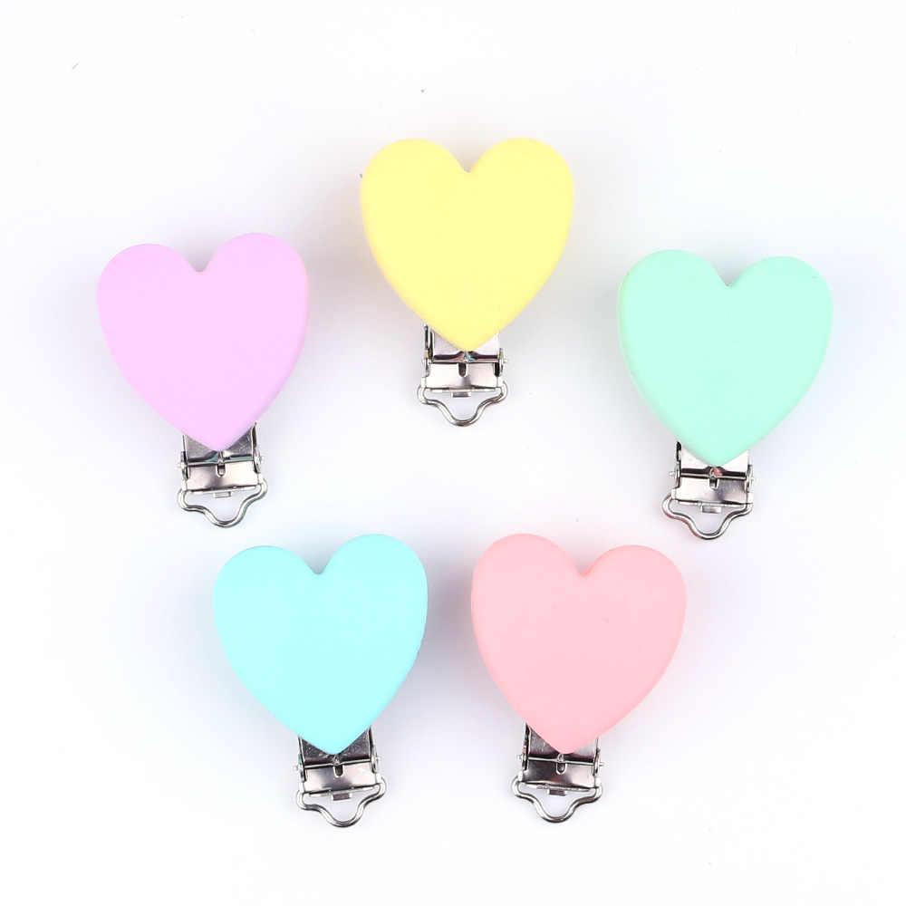 TYRY.HU לב אהבה בצורת מוצץ קליפ סיליקון בייבי Teether בקיעת שיניים אביזרי קליפ שאינו רעיל פטמה נועלים DIY חרוז כלי