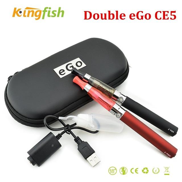 Duplo eGo CE5 E-cigarro ego fumaça e kit com 2 CE5 Atomizador e 2-ego T bateria 1100 mah ecigarette em Zíper caso