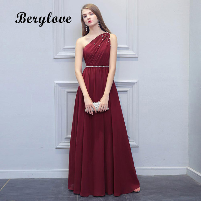 06f33e1eae BeryLove Simple Burgundy Prom Dresses 2019 Long Beaded One Shoulder Evening  Dresses Special Occasion Dress Prom Lady Party Gowns