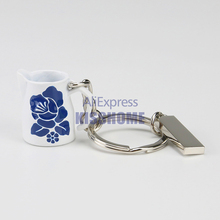 Zinc Alloy Coffee Flower Jugs Keychain Portable Keyring Coffeeware Tools Promotion Gifts Barista Espresso Coffee Accessories