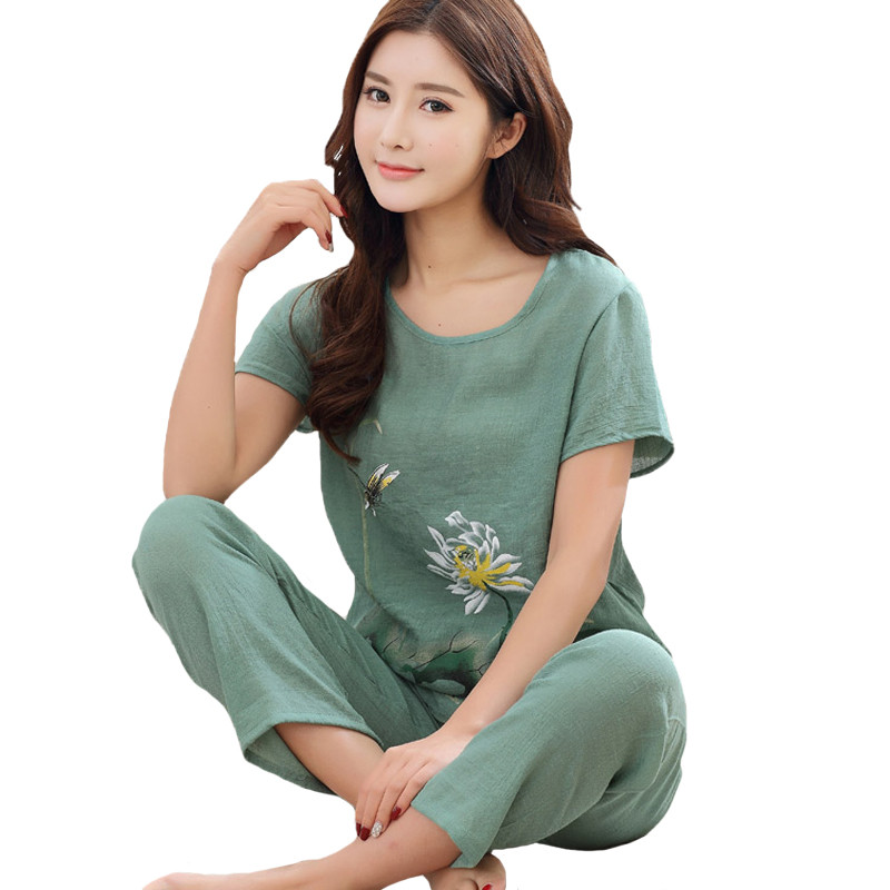 Novelty Green Chinese Women Cotton Pajamas Set Nightgown Print Floral Pyjamas Suit 2 PCS Sleepwear Summer Home Clothes M-XXL