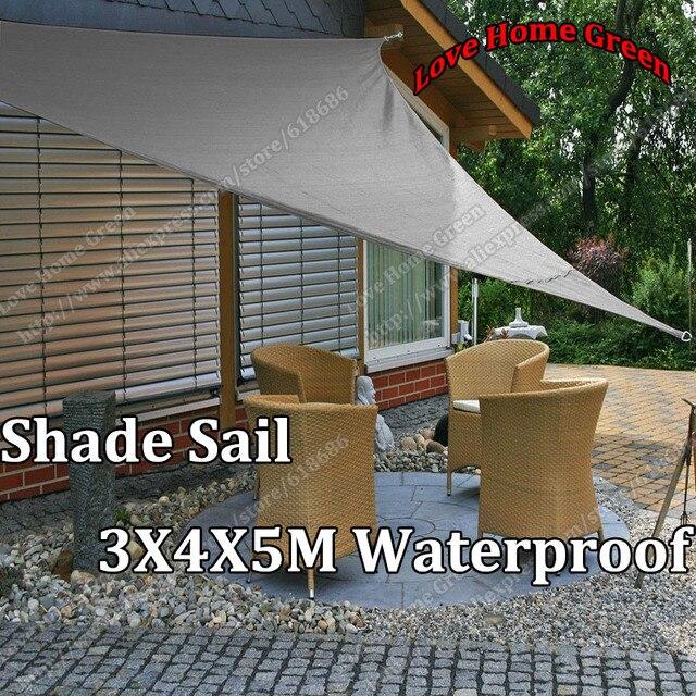 Triangular Shade Sail Canopy Shelter Sunshade Netting Awning Waterproof 3X4X5M & Triangular Shade Sail Canopy Shelter Sunshade Netting Awning ...