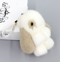 On Sale 100% Genuine Real Lovely Mink Fur Pendent Bag Car Tag KeyChain Charm Cute Rabbit Doll White Free Shipping