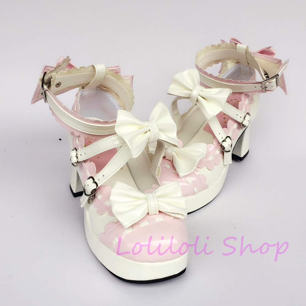 Princess sweet lolita shoes loliloli yoyo Japanese design custom big size pink with white bright skin lace-up high boots 5128