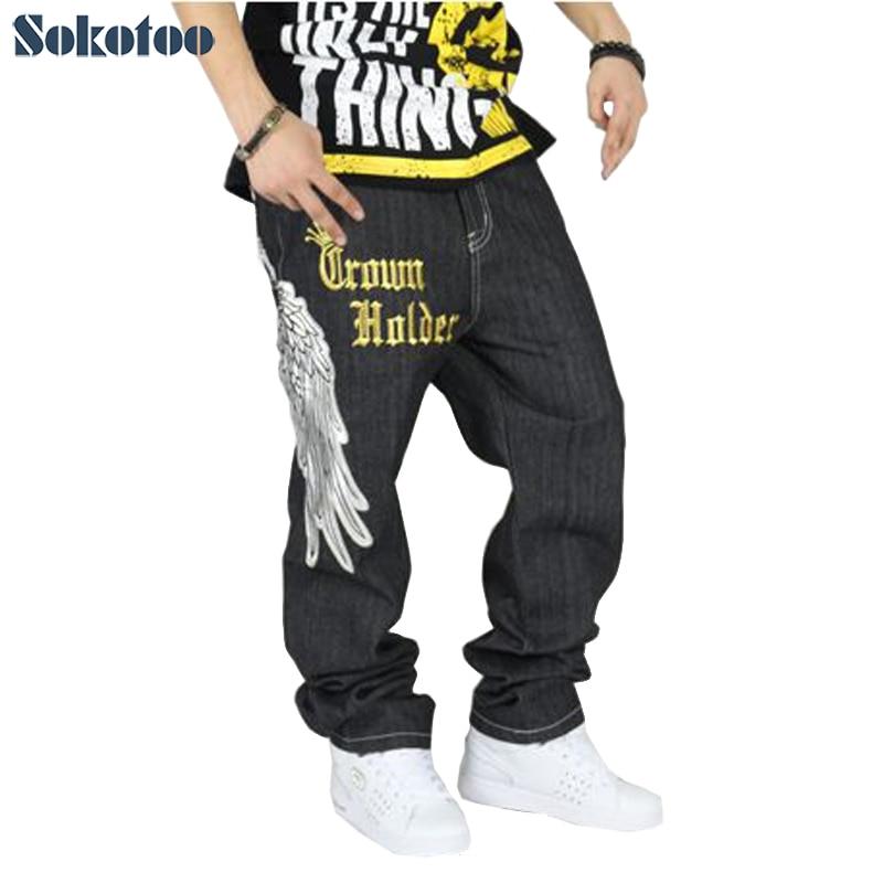 ФОТО Sokotoo Hip hop jeans men's plus size loose denim pants fashion letters hawk wings skull crown long trousers