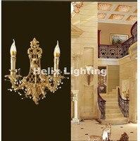 Недавно латунь E14 LED Европейский классическая золотая латунь настенный светильник свечи бра с Стекло Тенты современный латунь настенный св