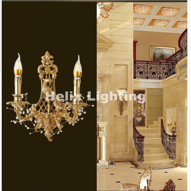 Newly brass e14 led european classical golden brass wall lamp candle newly brass e14 led european classical golden brass wall lamp candle wall sconce with glass shade aloadofball Images