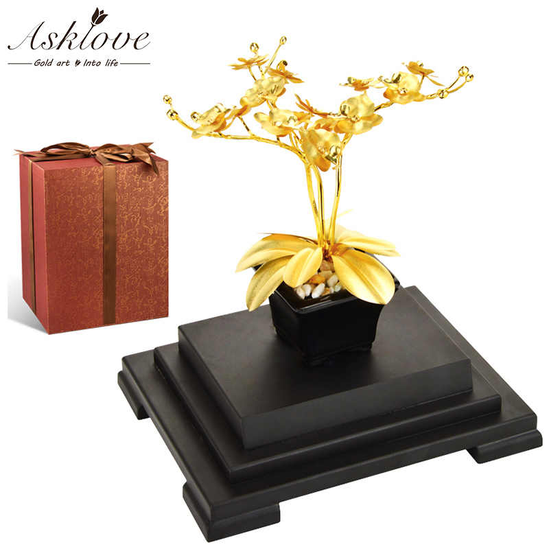 Feng shui Bonsai 24K gold foil Butterfly Orchid Creative Artificial Flower Plant Ornament Luxury gifts for wedding Home Decor