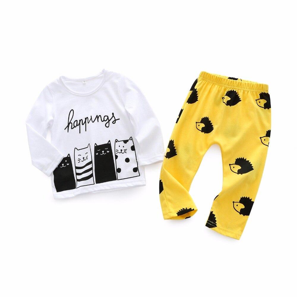 299ff8c9a03f Kimocat Baby Boy Clothes 2pcs Top+Pants Cotton Cute Cat Hedgehog ...