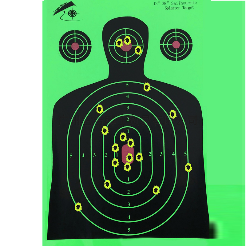 "Image 4 - 25 PCS Target Shooting 12""x18"" Silhouette Splatter Reactiveb Target Paper Targets Fluorescent Green For Gun or Archery Shooting-in Paintball Accessories from Sports & Entertainment"