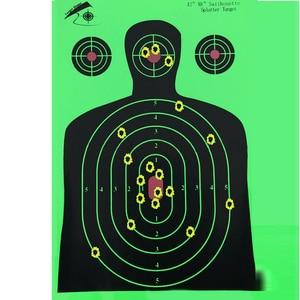 "Image 4 - 25 PCS Target Shooting 12""x18"" Silhouette Splatter Reactiveb Target Paper Targets Fluorescent Green For Gun or Archery Shooting"