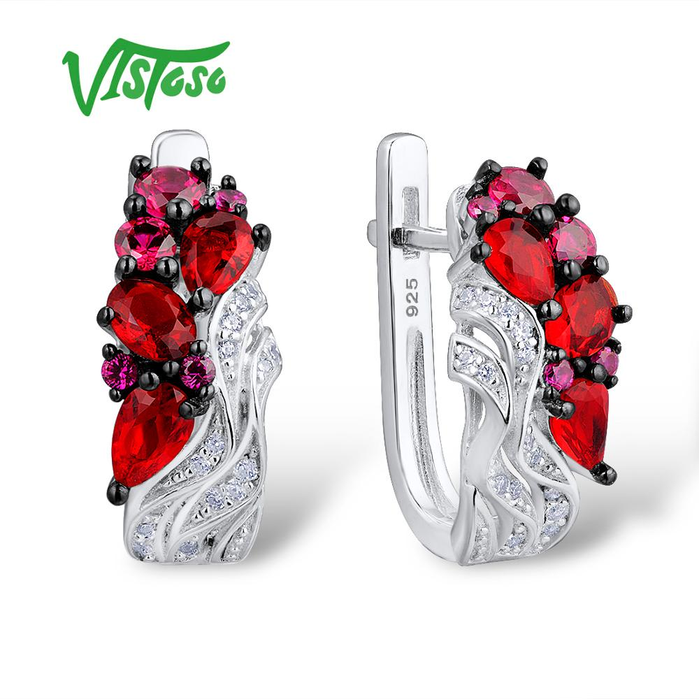 VISTOSO boucles d'oreilles bijoux fins rond créé rubis rond blanc cubique Zircon haute qualité Fine boucles d'oreilles 2018 pour les femmes