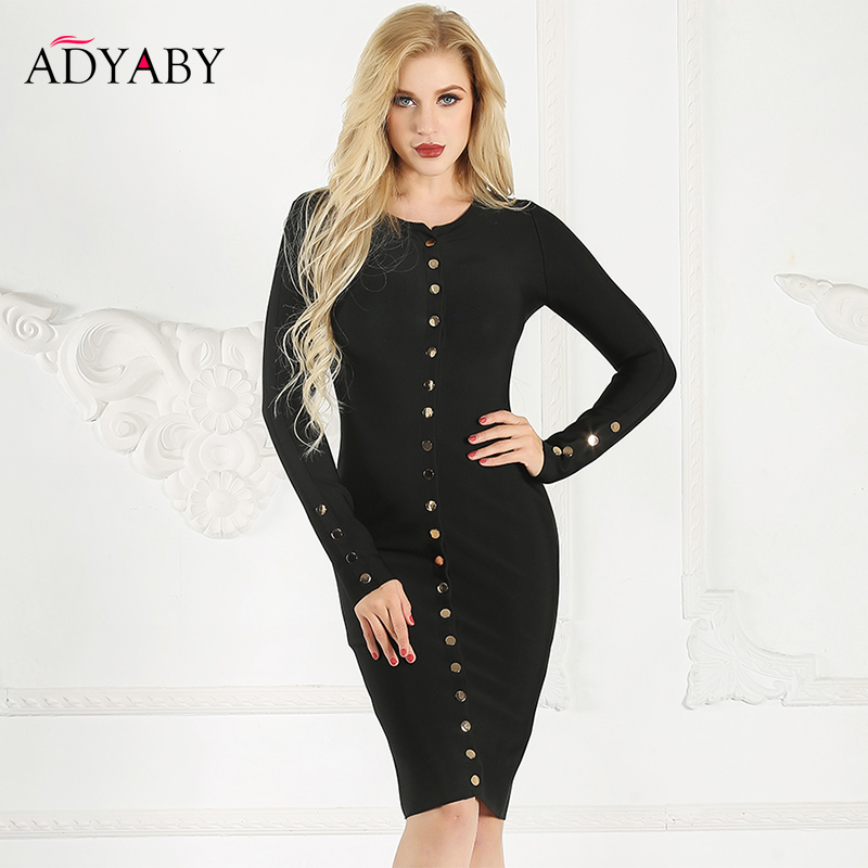 Long Sleeve Dress Women Spring 2019 New Fashion Bodycon Dress Black Single Button Knee Length Slim