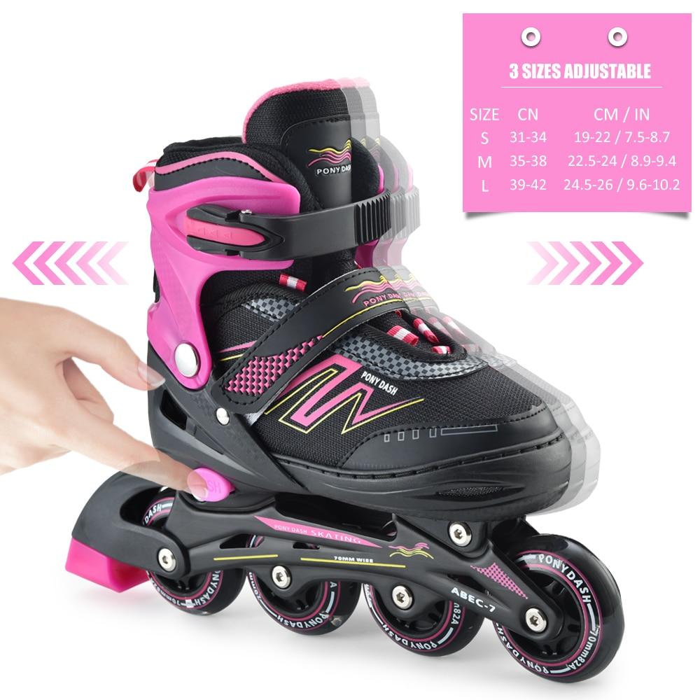 Adjustable Inline SkateInline Skates Adjustable Rollerblades With Illuminating Wheels Outdoor Roller Skates Children Tracer
