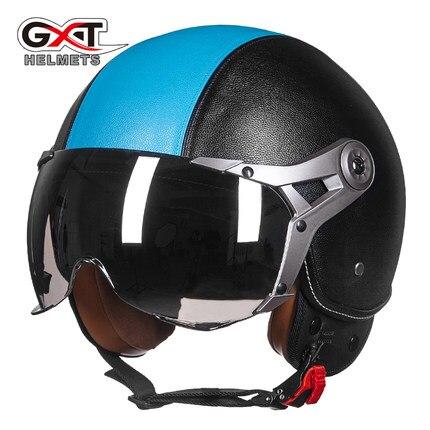 GXT casque moto G-288 motocross helmet genuine leather vintage retro Harley motorcycle capacete cascos open face helmet