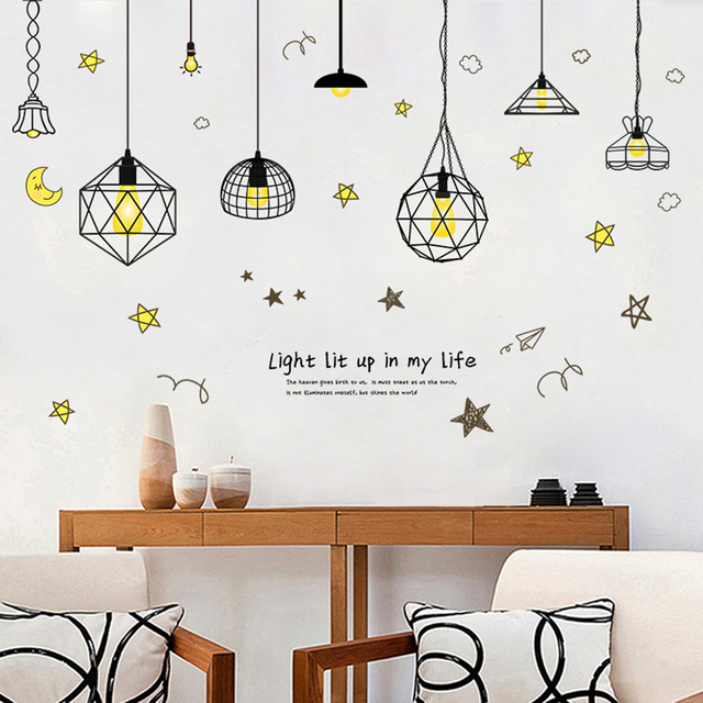 Hanging Lamp Wall Sticker Electric Light Vinyl Kitchen Dining Room Stickers Decor Removable Decals Wallpaper Home