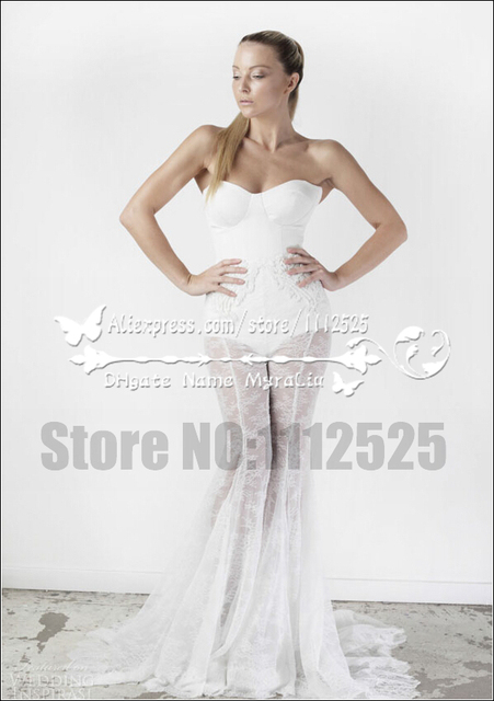 Awp 1016 New Styal Charming Bridal Mermaid Lace Pant Suits For Wedding Dresses Strapless Sheath