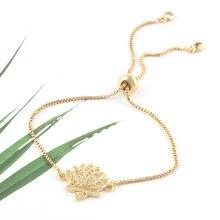 Роскошный браслет с подвесками в виде цветка лотоса из фианита