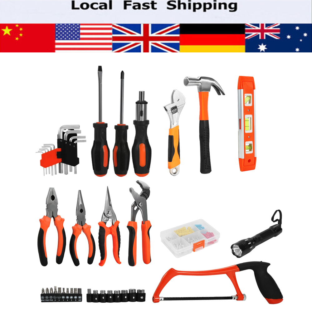 102pcs set household tools garden home repair tool set kit utility cutter flashlight socket hex - Household tools ...