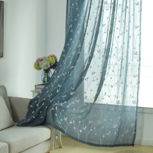 2018 Hot Sales Embroidered european Willow leaf style Window sheers Home Decor Curtain Cut Flowers tulles 1pc