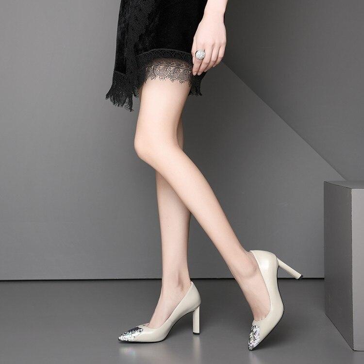 Femme chaussures talons aiguilles femme escarpins bout pointu peu profond T Stage noir/Nude véritable cuir robe de mariée talons - 3