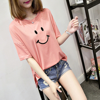 2018 Summer Cute Smiley Embroidery T shirt Preppy Style Short Sleeve Tops Kawaii Loose M XXL 5 Colors Women's T shirts
