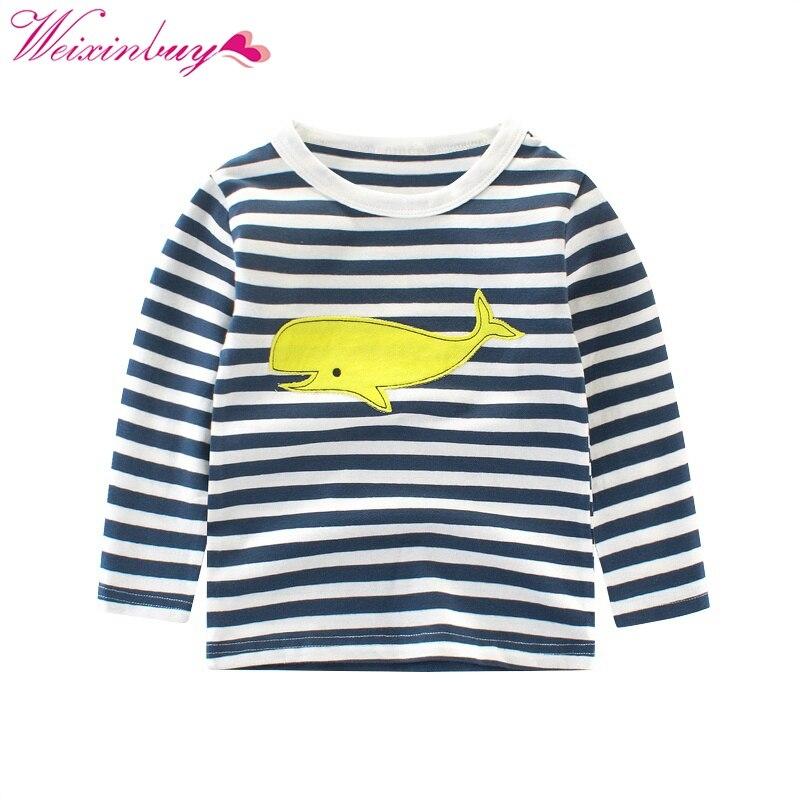Kids Boys T shirt Children Clothing Top Brand Children Girls Boys Long Sleeve Tops Striped And Printed 2-10T T-shirts