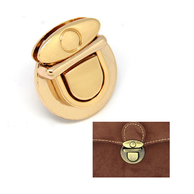 Metal Thumb Catch Purse Lock, 3cm x 3.5 cm Gold Purse Bag Lock