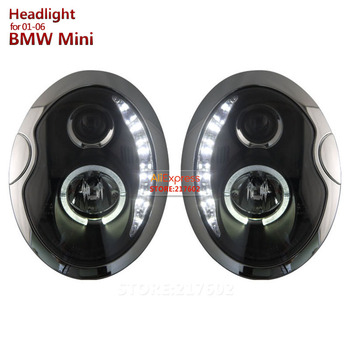 SONAR Brand for BMW MINI Cooper R53 LED Projector Headlights Assembly fit 2001-2006 year cars front lamps with angel eye