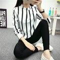 2017 Новый Корейский Стиль Мода Смазливая Выдалбливают С Длинным Рукавом Полосатый Комбинезон Шифон Блузка Плюс Размер