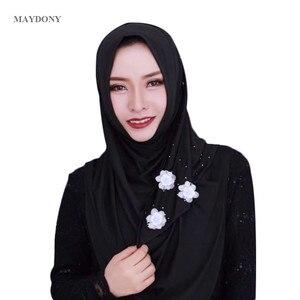 Image 2 - TJ85 bufanda de moda para mujer, hijab musulmán, visera de seda, gran cantidad, sin broche