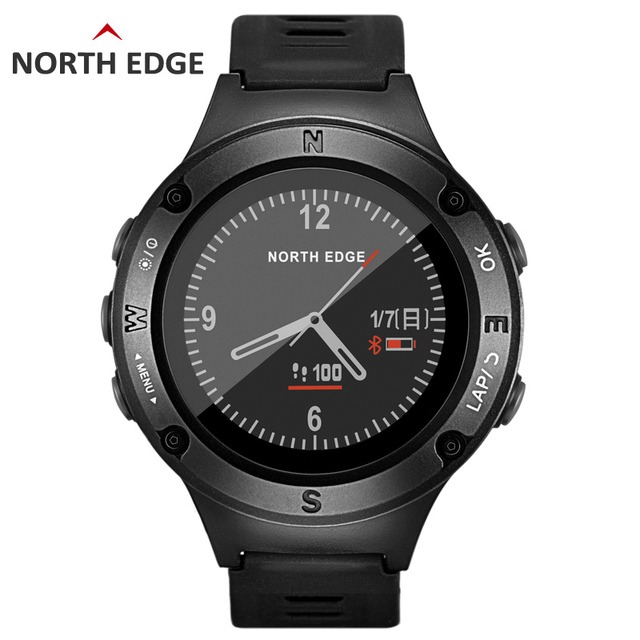 Men's GPS Sports watch Digital watches Water resistant military Heart Rate Altimeter Barometer Compass hours running NORTH EDGE