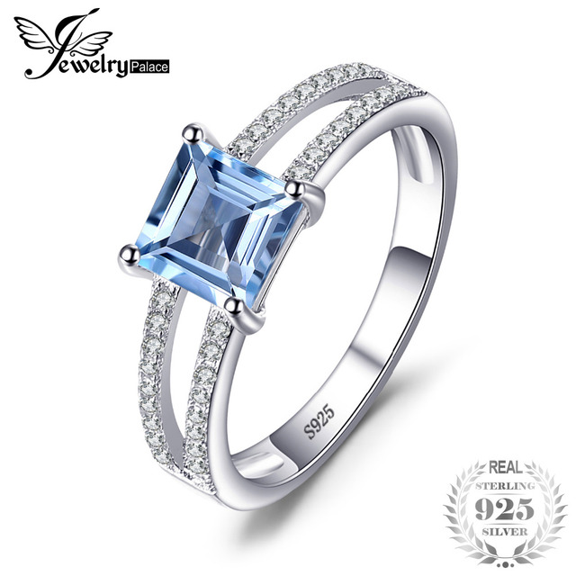 JewelryPalace 1.4ct Princess-Cut Sky Blue Topaz Wedding Anniversary Rings For Wo