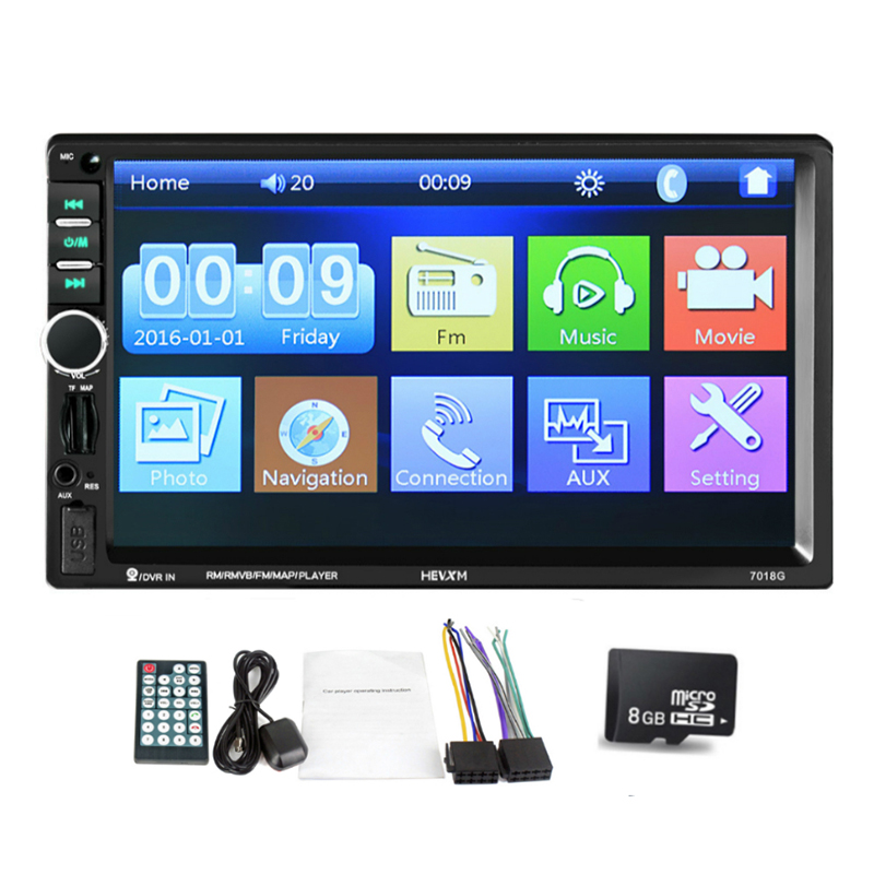 2 din Car Multimedia Player GPS Navigaiton with Middle East Map 7 inch HD Touch Screen Bluetooth Autoradio MP3 MP5 Player 7018 podofo 2 din car multimedia player gps navigaiton camera map 7 hd touch screen bluetooth autoradio mp3 mp5 player 7018g radios