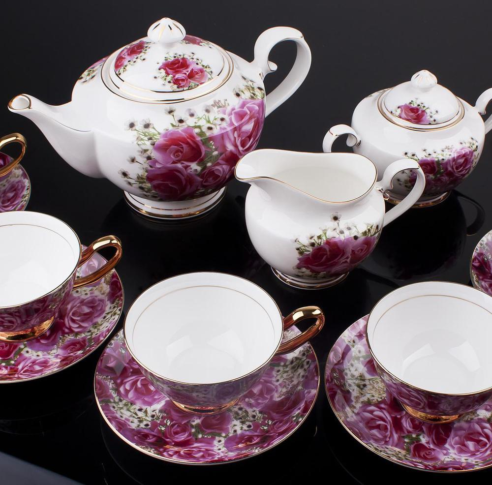 15pcs European Style Bone China tea set Beautiful Rose