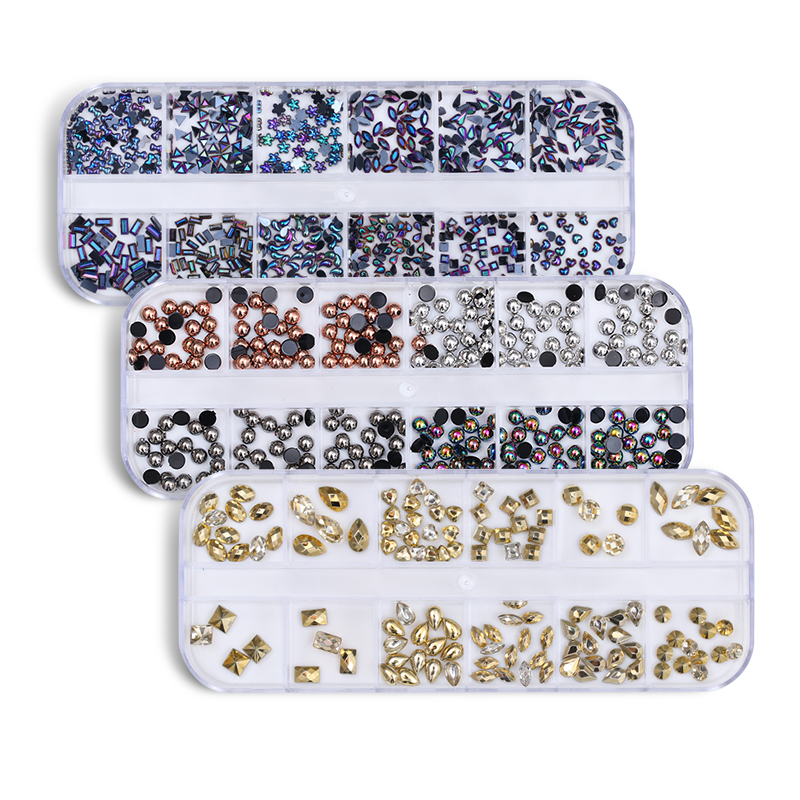 Mixed Colorful Rhinestone Gold Beads Fimo Sequins Pearl 3D Nail Decoration Floral Manicure Nail Art Accessories