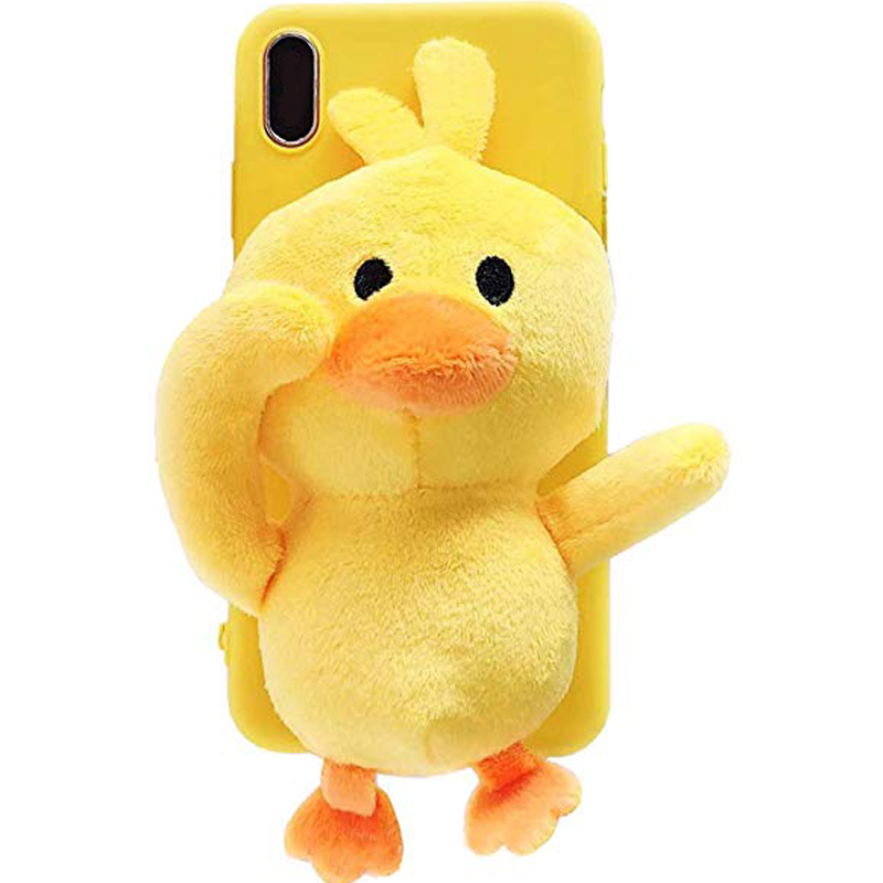 Cartoon Doll Toy Duck Case For Iphone 6 6s 7 8 Xr Xs Max , Fluffy 3d Cute Plush Fur Animal Soft Cover With Bracket Stand Case Aesthetic Appearance
