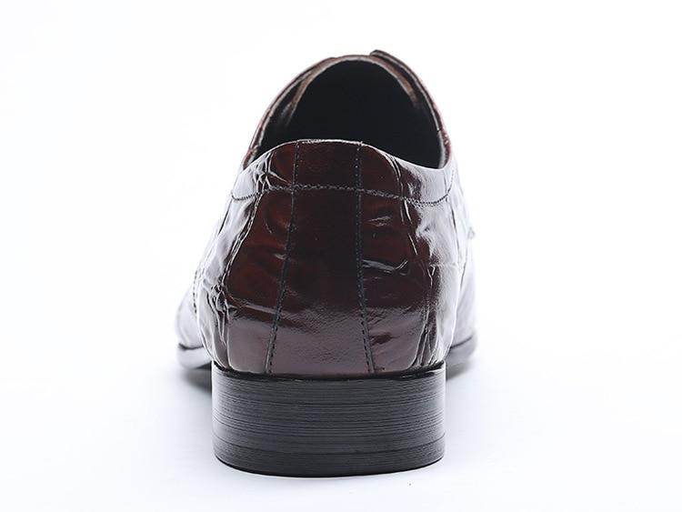 De Cuero vino Qyfcioufu Puntiagudo Vestir Tinto Del Cocodrilo Zapatos Encaje formal Pie Genuino Los Negro Negro Hombres Vaca Vino Dedo Rojo Oxford Patrón I1Irfqwt