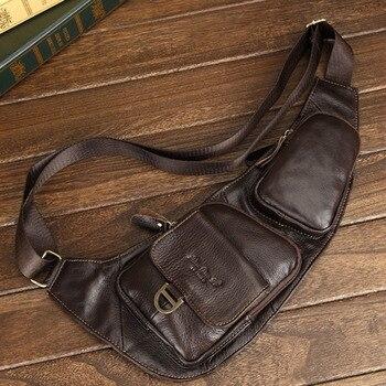 Erkekler hakiki deri çanta Messenger Omuz Çapraz Vücut Çanta Gerçek Inek Derisi Vintage Erkekler Yüksek Kaliteli Sling Sırt Çantası Göğüs Geri Paketi