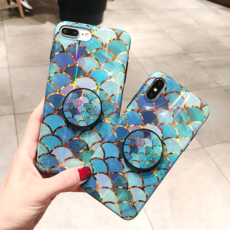 Shiny mermaid scales laser phone cases for iphone 7 8 X XR XS Max 6 S 6s 7 8 plus Ring air bag Stand holder Grip case back cover (1)