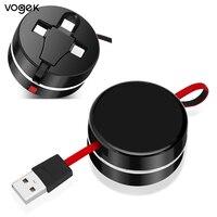 Vogek 텔레스코픽 데이터 라인 3 1 유연한 휴대 전화 케이블 다기능 USB 빠른 충전 연장 케이블 아이폰 샤오미